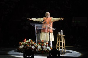India's Prime Minister Modi gestures while speaking at Madison Square Garden in New York